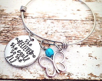 She believed she could so she did, butterfly bracelet, hand stamped bracelet, graduation gift, Inspirational jewelry, Bangle Bracelet
