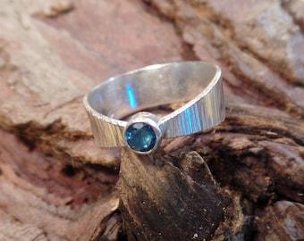 Hammered sterling London blue Topaz ring, size 7