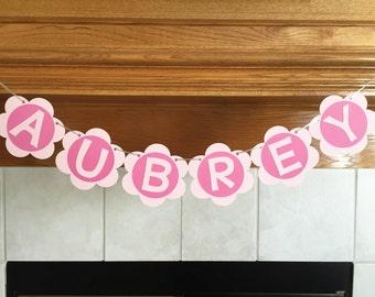 Flower Banner - Girl Banner - Flower Birthday Banner - Birthday Banner - Pink Flower Birthday Banner - Pink Flower Banner