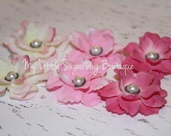 Flower Shoe Clips-Pink-White-Girls-Toddler-Women-Bridal