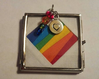 Rainbow Heart #quiltsforpulse Necklace