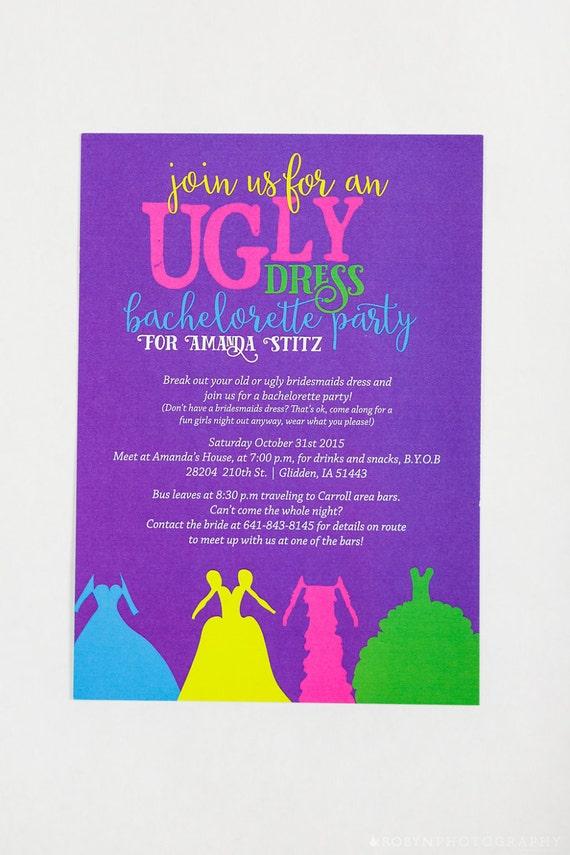 Ugly Dress Bachelorette Party Invitation Purple