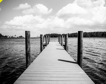 SALE! Landscape Photography - Eden Gardens Pier - Fine Art - Black and White
