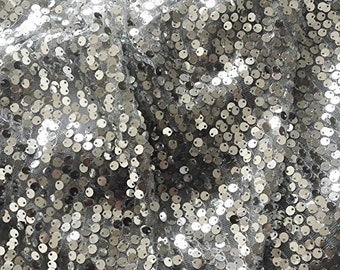 "Silver Bobbles Sequin on English Net 60"" wide By The Yard FC10699"