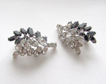 Vintage Clear and AB Black Rhinestone Clip on Earrings