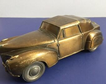 "Lincoln Continental Vintage Brass Bank Banthrico 1974 Car Automobile 7"" Metal"