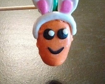 Cute Carrot w/Bunny Ears Charm - Polymer Clay Charm, Polymer Clay Jewelry, Easter, Spring