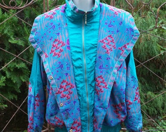 80s Windbreaker Vintage Nylon Jacket Floral Teal Granny Zip Up Medium