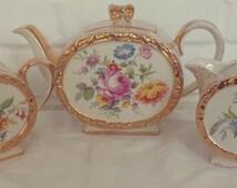 Stunning Sadler English Bone China 3 piece Tea Set, Floral and Gold Tea Pot, sugar bowl and creamer, afternoon tea, vintage tea set