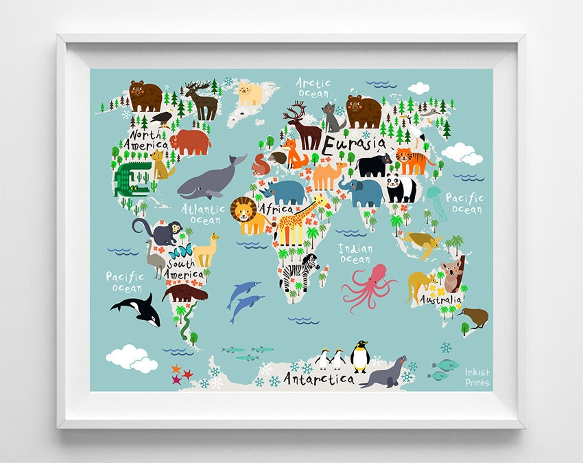 Kids world map – Map World Poster Kids
