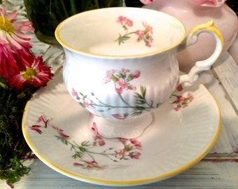 Bone China Teacup and saucer Elizabethan China Bone China cup Cottage chic Tea cup and saucer Cottage decor Country home decor Shabby Chic