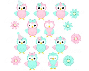 Cute pink and aqua owls clip art,owls,scrapbook,graphic design,digital art,(personal & small business use). Transparent background