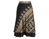 Silk Wrap Skirt, Black Skirt, Long Skirt, Boho Chic Skirt, Boho Skirt, Plus Size Skirt, Wrap Skirt, Sari Skirt, Silk Skirt, Silk Wrap, Skirt