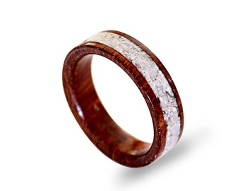 Women's Wood Ring with Crushed Shell Inlay, Mahogany Wood Ring, Natural Ring for Women