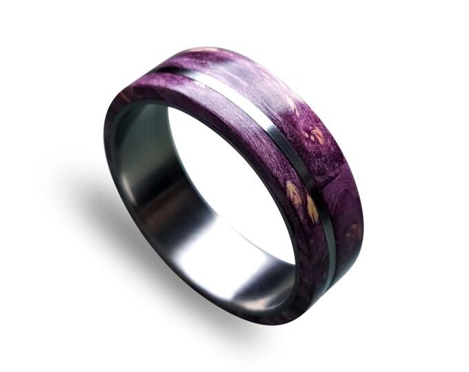 Titanium Ring with Off-Center Purple Box Elder Burl Inlay