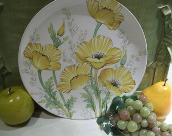 6 Yellow Poppy Yellow Buttercup Noritake Craftone Dinner Plates Made in Japan 8769