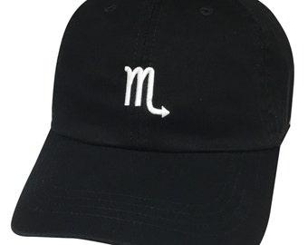 Scorpio Zodiac Horoscope Sign Embroidered Black Acrylic Low Profile Curved Bill Baseball Hat Cap
