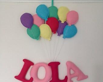 personalised name balloon garland banner,felt letters for kids nursery / bedroom, film up,