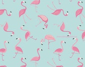 Flamingo Fabric, Lewis & Irene Tropicana A133.3 Flamingo on Blue, Tropical Quilt Fabric, Cotton Flamingo Fabric, Aqua