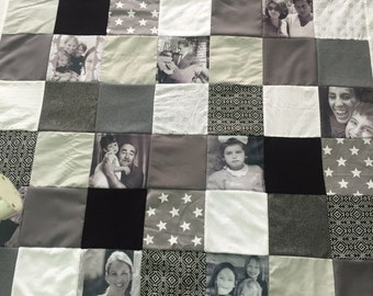 Personalized Memory Photo Quilt, Wedding Anniversary Gift, Gray Photo Quilt, Photo Keepsake Gift, King Queen Size Quilt, Stars Pattern Quilt