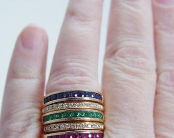 Unique 14K Yellow Gold Diamonds Emerald Sapphire Ruby Interchangeable Ring Set