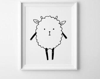 Little sheep art, nursery printable art, Scandinavian modern, kids room decor, digital art, best selling items, nursery decor, wall prints