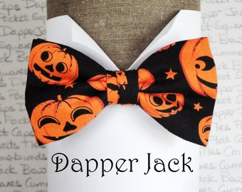 Halloween bow tie, bow ties for men, men's bow ties, orange pumpkins on black