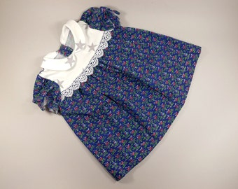 Baby dress, Cotton, Lace, Blue colourful little dress,