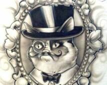 The Grumpy Gentlemtleman- Grumpy cat- custom airbrushed T-shirt or women's V-neck style shirt
