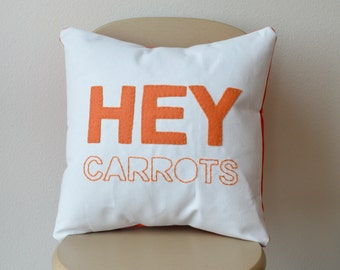 Hey Carrots Anne of Green Gables Orange Quote Embroidered Felt Decorative Throw Pillow Cover