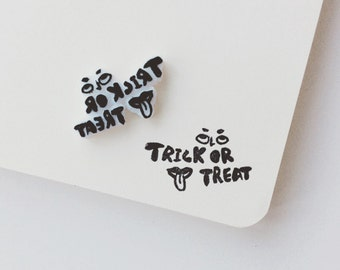 Trick or treat stamp.eyes and mouth. Halloween stamp. rubber stamp. hand carved stamp. mounted.