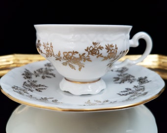 Rare WEIMAR PORZELLAN Fine Porcelain Espresso or Mocca Cup and Saucer Set // Fine German Porcelain