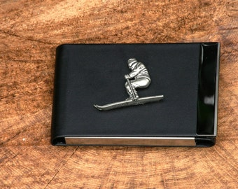 Skier Design Black PU and Metal Credit/Business Card Holder Gift