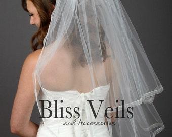 Waist Veil, 2 Layer Veil, Available in ANY length!  Veil, Wedding Veil, Bridal Veils, Ivory Veil, Ribbon Veil, Fast Shipping!