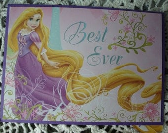 Disney Princess Card, Rapunzel, Birthday Card, handmade, girl's birthday, Happy Birthday, Disney Card