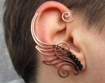 Pair of copper ear cuffs Hermes' wings