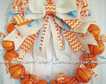 University of Tennessee Inspired Basketball Wreath- Tennessee Lady Volunteers - Orange and White - Go Lady Vols!!! VFL - GBO