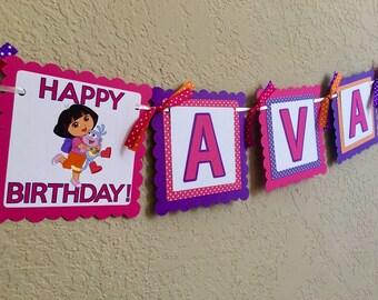 """NEW STYLE """"2 IN 1"""" Dora Birthday Banner, Dora Birthday Banner, Dora Birthday Party, Dora Birthday, Dora Party, Dora Banner, Dora Explorer"""