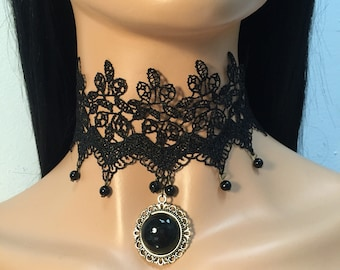 Ophelia vintage lace statement detailsblack choker
