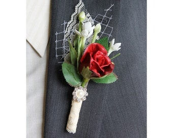 Red Rose Boutonniere Groom Boutonniere Groomsman Boutonniere Red Boutonniere Wedding Boutonniere Lapel Pin