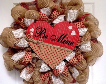 Valentines Day Be Mine Heart With Lace Ribbons Handmade Deco Mesh Burlap Wreath