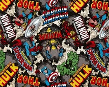 Avengers fabric.  100% Premium cotton.  Blue, yellow, red.  Quilting cotton.   Superhero, Captain America, Spiderman, Hulk, character, kid,