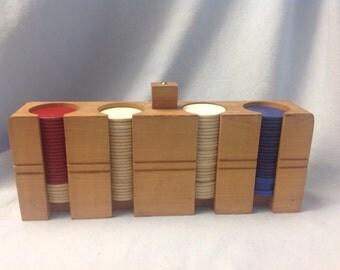 Vintage wood poker chip holder, poker chip caddy, poker holder with chips, horseshoe poker chips
