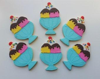 Ice Cream Sundae Sugar Cookies 1 dozen (12 cookies)
