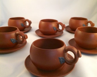 Yixing Chinese Clay Tea Cups and Saucers, Set of 6