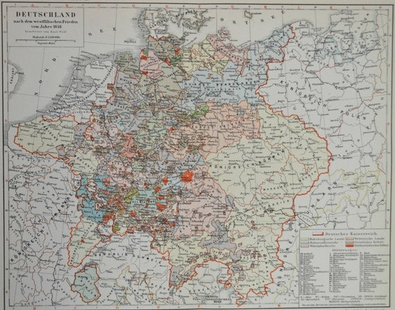 Map of Germany after the Peace of Westphalia of 1648. Old book plate,1904. Antique  illustration. 110 years lithograph. 9'6 x  11'9 inches.