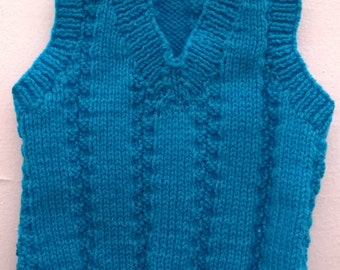 Baby Boys Hand Knitted Tank Top in Azure Blue 0-3 months
