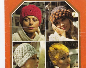 A pattern for four different crochet hats - downloadable vintage pattern