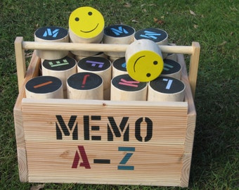 Memo A - Z       self-made outdoor letter puzzle,  made of wood,