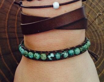 Turquoise Bracelet / Leather Bracelet / Leather Wrap